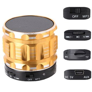 Metall Lautsprecher Box Gold Bluetooth kabellos Speaker Radio USB TF Wireless