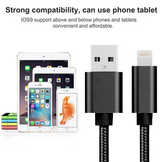 2 x Premium Nylon 2 A Lade/Datenkabel Silber 2 Meter 8 Pin Lightning für Iphone 5,6,7,8,X/Ipad/Ipod,usw.