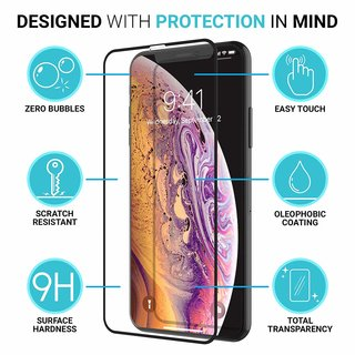 5 D Curved Panzglaserfolie iPhone Schutzglas 9 H X,XS,XR,XS Max 1 Stück iPhone XR 6,1
